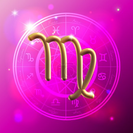 Illustration for Golden Zodiac decorative vector background - Royalty Free Image