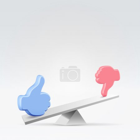 Illustration for Like or unlike - user opinion mood swings concept illustration - Royalty Free Image