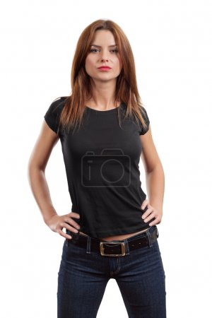 Sexy female posing with blank black shirt