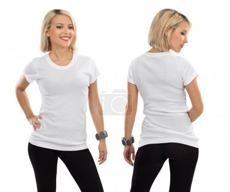 Photo for Young beautiful blond female with blank white shirt, front and back. Ready for your design or artwork. - Royalty Free Image