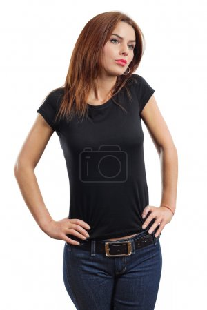 Photo for Young beautiful brunette female with blank black shirt. Ready for your design or artwork. - Royalty Free Image
