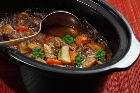 Photo for Photo of Irish Stew or Guinness Stew made in a crockpot or slow cooker - Royalty Free Image