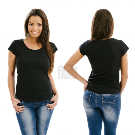 Photo for Young beautiful sexy female with blank black shirt, front and back. Ready for your design or artwork - Royalty Free Image