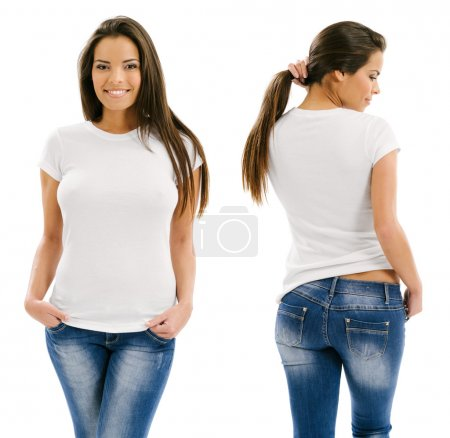 Photo for Young beautiful sexy female with blank white shirt, front and back. Ready for your design or artwork. - Royalty Free Image