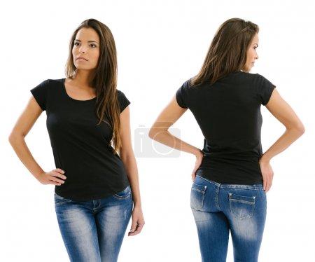Beautiful model posing with blank black shirt