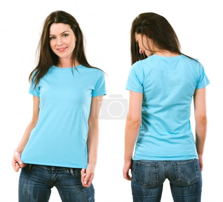 Photo for Photo of a beautiful brunette woman with blank light blue shirt. Ready for your design or artwork. - Royalty Free Image