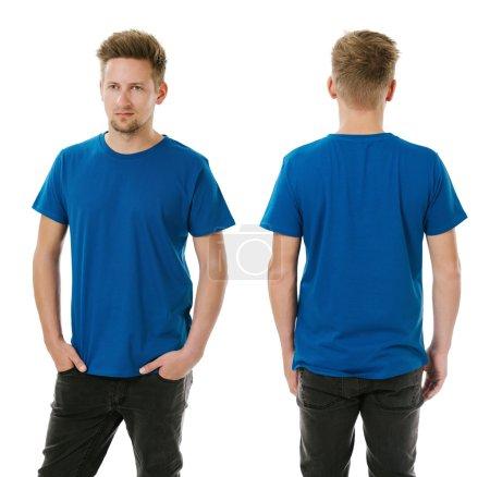 Man posing with blank royal blue shirt