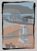 Budapest cityscape hand drawing postcard