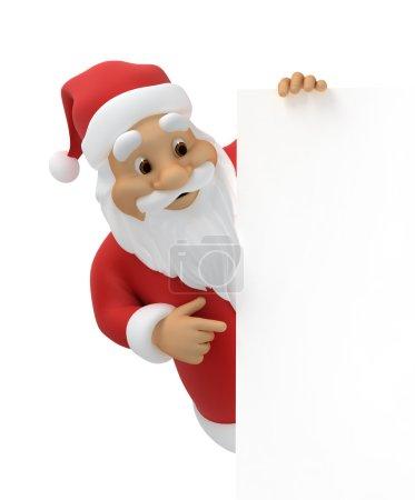 Photo pour Père Noël avec feuille de papier, 3d, chemin de travail inclus - image libre de droit
