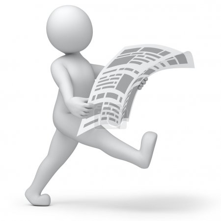 Photo for 3d human read his news paper on the run - Royalty Free Image