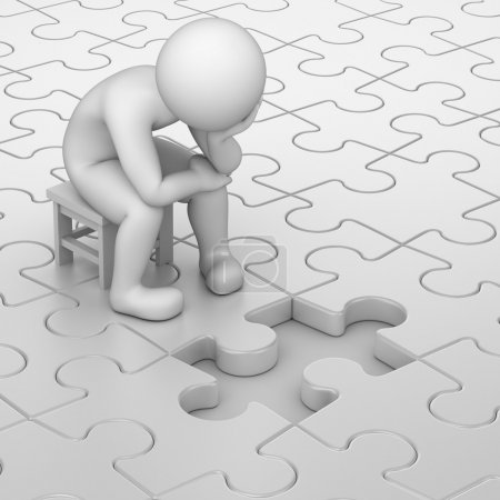 Photo for Frustration, 3d human and one missing puzzle piece - Royalty Free Image