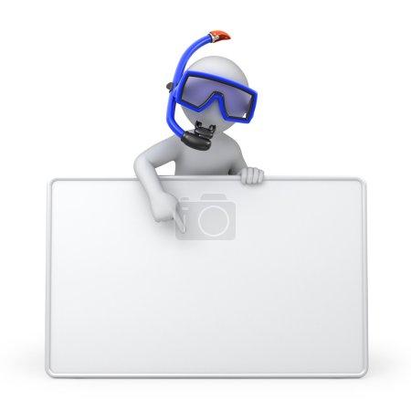 Photo pour Plongeur avec un tableau blanc. image avec un chemin de travail - image libre de droit