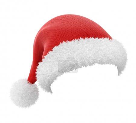 Photo pour Chapeau Père Noël, isolé sur fond blanc avec un chemin de travail - image libre de droit