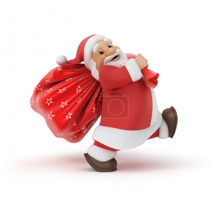 Photo for Santa Claus with a bag of gifts, 3d illustration,  work path - Royalty Free Image