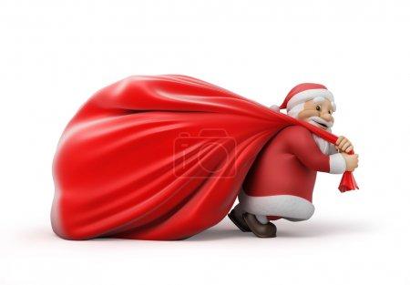Photo pour Père Noël avec un lourd sac de cadeaux, illustration 3D. chemin de travail - image libre de droit