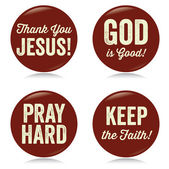 Vintage Christian buttons red