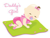 Illustration of a baby girl crawling on blanket
