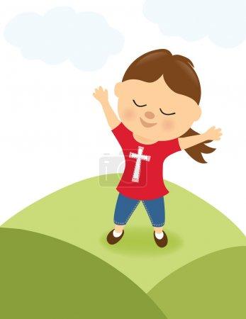 Illustration pour Illustration d'une fille reconnaissante louant le Seigneur - image libre de droit