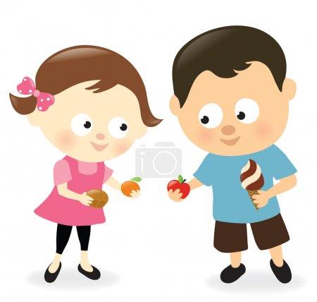 fille et garçon partage des bonbons et fruits
