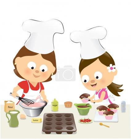 Illustration pour Illustration d'une mère et d'une fille dans la cuisine - image libre de droit