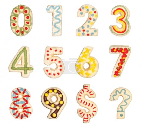 Photo for Numbers 0 to 9 from decorated handmade cookies - Royalty Free Image