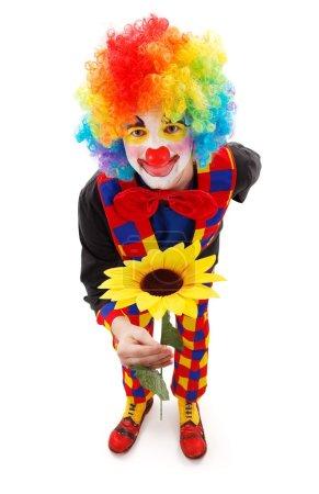 Photo pour Clown souriant donnant une grande fleur jaune - image libre de droit