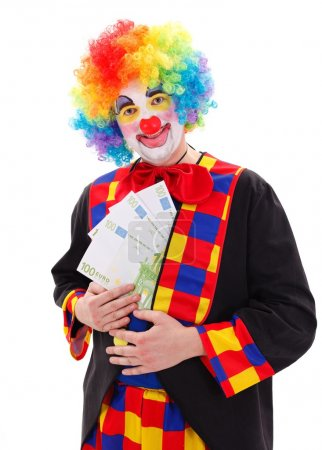 Photo for Clown in colorful wig showing big money - Royalty Free Image