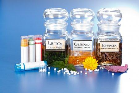 Various plant extract in bottles, Urtica Urens, Ca...