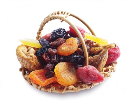 Different dried fruits in a basket
