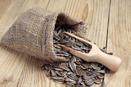 Photo pour Graines de tournesol dans un sac et une cuillère sur une table en bois - image libre de droit