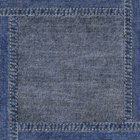Highly detailed grunge worn denim texture - abstract dirty blue jeans background with double seams frame