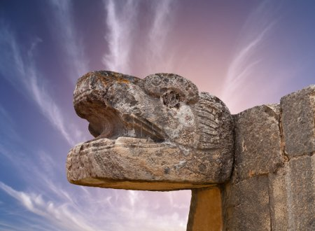 Snake Mayan Sculpture in the city of Chichen Itza, Yucatan, Mexi