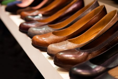 Close-up image of leather shoes in a shop