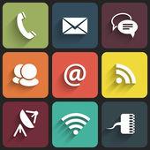 Moderní komunikace značky a ikon v ploché v provedení se stíny