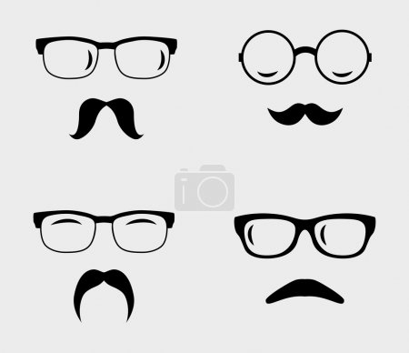 Glasses and mustaches set