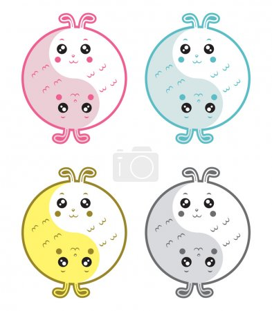 Illustration for A cute cartoon rabbits yin yang symbol. - Royalty Free Image