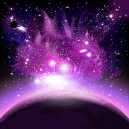 Illustration for An outer space background with planets, sky and stars. Layered. - Royalty Free Image