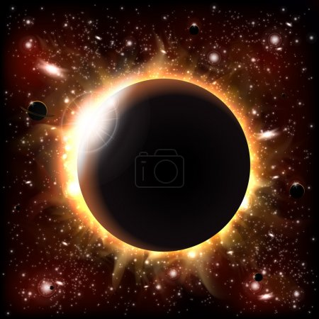 Illustration for An outer space background with an eclipse, planets and stars. Layered. - Royalty Free Image