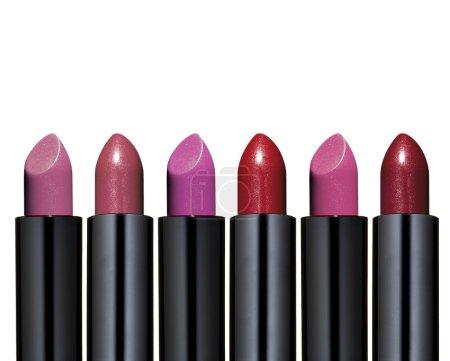 Photo pour Collection de rouge à lèvres en différentes couleurs sur fond blanc - image libre de droit