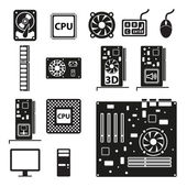 Set of computer hardware icons Vector illustration