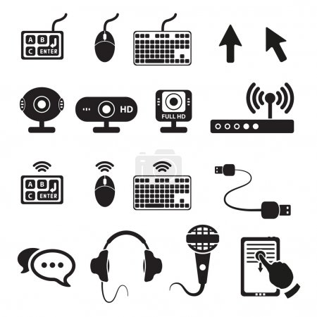 Set of computers and hardware icons