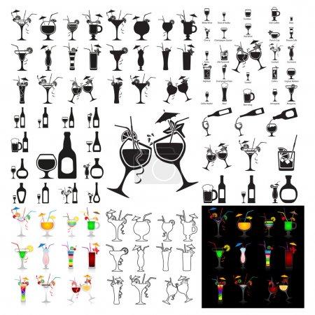 Illustration pour Ensemble de cocktails vectoriels sur fond blanc - image libre de droit