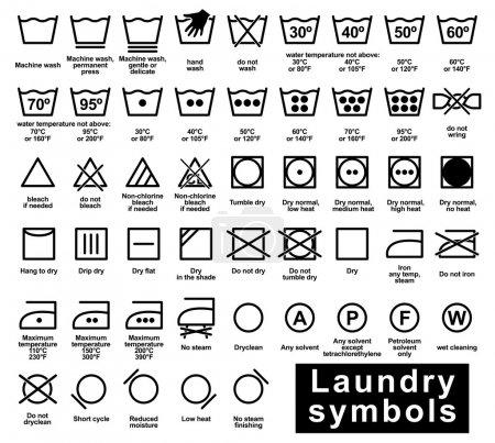 Illustration for Icon set of laundry symbols, vector illustration - Royalty Free Image