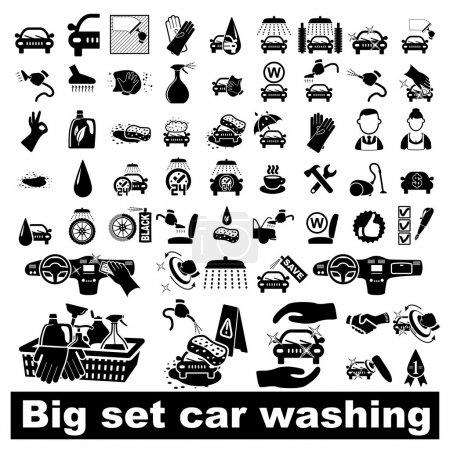Illustration for Car wash icons set on white - vector illustration - Royalty Free Image