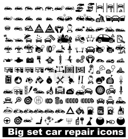 Illustration for Big set car repair icons. Vector illustration - Royalty Free Image