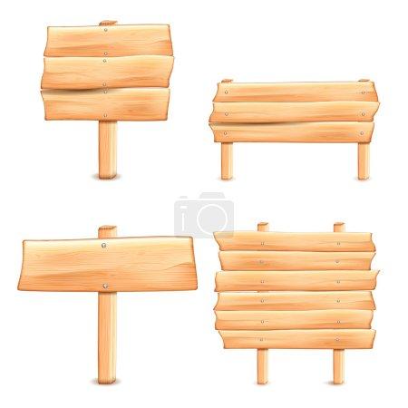 Illustration pour Collection de panneaux de signalisation en bois sur fond blanc - image libre de droit