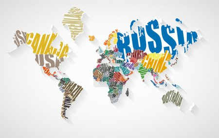 Illustration for World map made up of the names of countries - Royalty Free Image