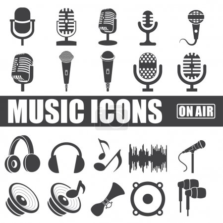 Music icons set on white background. Vector...