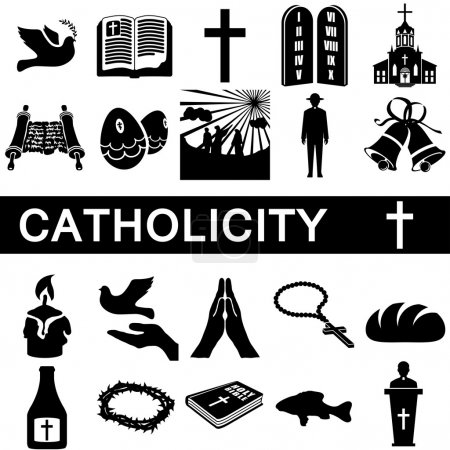 Icons collection for catholicity on white backgrou...