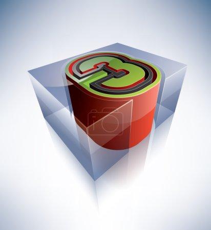 Photo pour Alphabet en trois dimensions : chiffre 3 dans un cube de glace transparente comme bleu boîte sur un fond bleu (partie du jeu d'icônes 3d alphabet) toutes les lettre, chiffres et symboles sont personnalisés dessinés à partir de zéro comme un 2d lettres et rendu 3D et enregistré un - image libre de droit